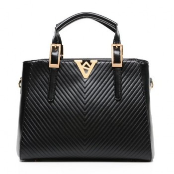 Dress Women's Shoulder Bag With Metallic and Buckle Design black white