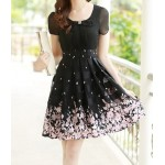 Elegant Women's Peter Pan Collar Short Sleeve Floral Print Chiffon Dress white yellow black pink