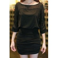 Elegant Women's Scoop Neck 1/2 Sleeve Bodycon Dress black