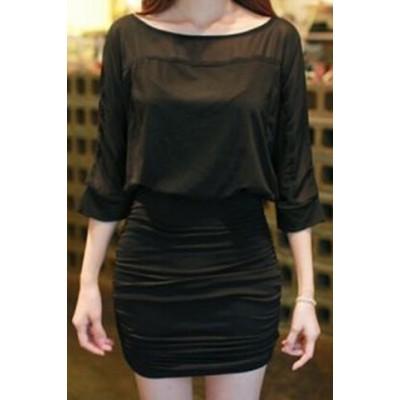 Elegant Women's Scoop Neck 1/2 Sleeve Bodycon Dress black