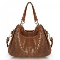 Elegant Women's Shoulder Bag With Solid Color and Snake Print Design brown black blue