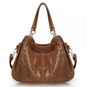 Elegant Women's Shoulder Bag With Solid Color and Snake Print Design brown black blue