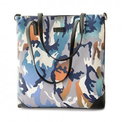 Fashion Women's Shoulder Bag With Camouflage and PU Leather Design blue green brown