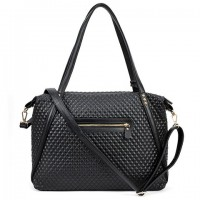 Fashion Women's Shoulder Bag With Checked and Black Design black