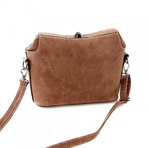 Fashion Women's Shoulder Bag With Hasp and Suede Design khaki plum blue