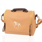 Fashion Women's Shoulder Bag With Zip and Pony Design brown green white