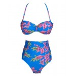 Fashionable Women's Halter High-Waisted Floral Print Bikini Set