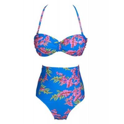 Fashionable Women's Halter High-Waisted Floral Print Bikini Set