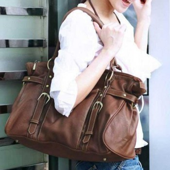 Fashionable Women's Shoulder Bag With Solid Color and Buckle Design Coffee
