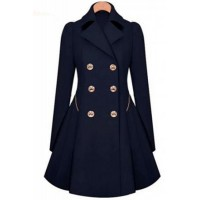 Fashionable Women's Turn-Down Collar Long Sleeve Double-Breasted Coat blue apricot