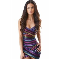 Firework Stripe Sleeveless V Neck Bodycon Bandage Mini Dress