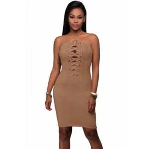 Grommet Detail Halter Suede Bodycon Dress Brown Pink