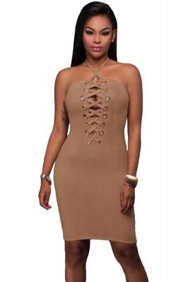Grommet Detail Halter Suede Bodycon Dress Brown Pink