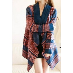 Jacquard Pattern Loose Long Sleeve Trendy Irregular Hem Women's Cardigan blue white