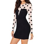 Jewel Neck Long Sleeves Polka Dot Splicing Stylish Dress For Women black white