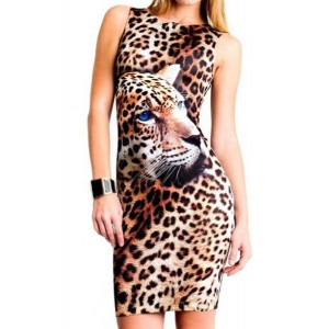 Jewel Neck Long Sleeves Tiger Stripes Printed Stylish Dress For Women