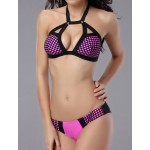 Lace-Up Design Halter Backless Polka Dot Print Bikini Swimwear For Women rose black