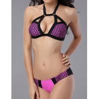 Lace-Up Design Halter Backless Polka Dot Print Bikini Swimwear For Women rose black