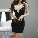 Lacework Casual Scoop Neck Crochet Flower Sleeveless Dress For Women black white