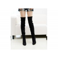 Laconic Casual Women's Boots With Round Head Solid Color and High Heel Design black brown gray
