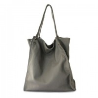 Laconic Women's Shoulder Bag With Solid Color and PU Leather Design gray plum black