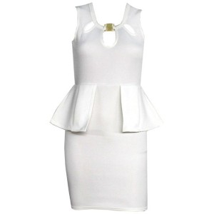 Ladylike Round Collar Sleeveless Flounced Solid Color Bodycon Dress For Women white red black