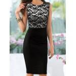Ladylike Round Neck Sleeveless Spliced Bodycon Dress For Women black