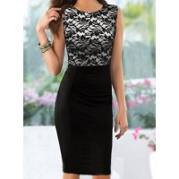 Ladylike Round Neck Sleeveless Spliced Bodycon Dress For Women black