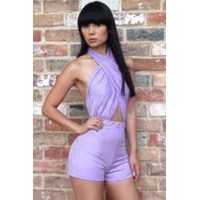 Lavender Cross Halter Backless Romper