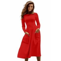 Light Blue Bateau Collar Casual Big Pocket Skater Dress Navy Red Black White