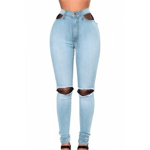 Light Blue Fishnet Splice High Waist Jeans Dark Blue