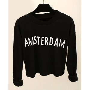Long Sleeves Jewel Neck Letter Printed Casual T-Shirt For Women black coffee