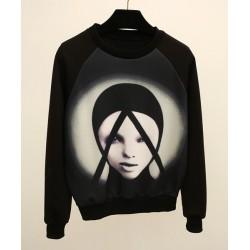 Long Sleeves Jewel Neck Printed Casual Sweatshirt For Women black