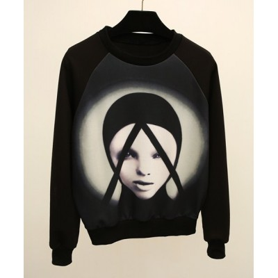 Long Sleeves Jewel Neck Printed Casual Sweatshirt For Women black
