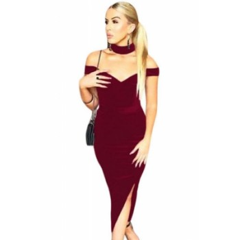 Luxurious Velvet Long Party Dress with Choker Black Red