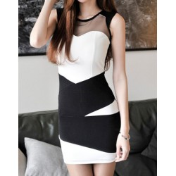 Mesh Splicing Sleeveless Round Collar Color Block Packet Buttock Dress For Women white