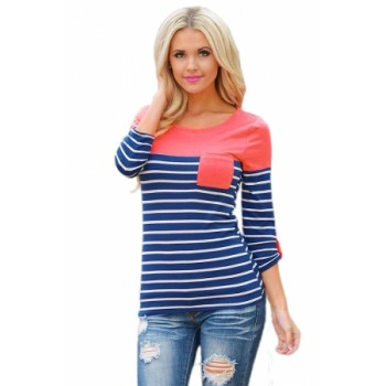 Mint Shoulder Blue White Striped Blouse Rosy Pink Gray