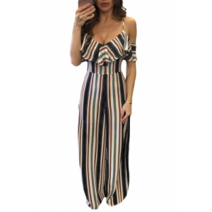 Multicolor Stripes Frill Cold Shoulder Jumpsuit