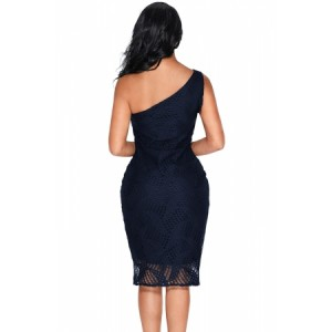 Navy Laser Cut One Shoulder Ruffle Embellished Dress Red Black