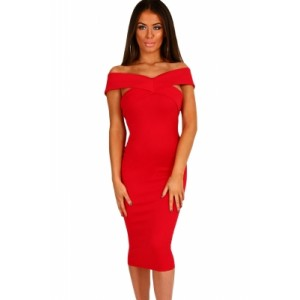 Off Shoulder Slim Fit Midi Dress Grey Wine Red Black