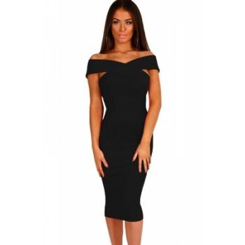 Off Shoulder Slim Fit Midi Dress Grey Wine Red Black