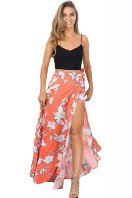 Orange White Floral Maxi Skirt with Split