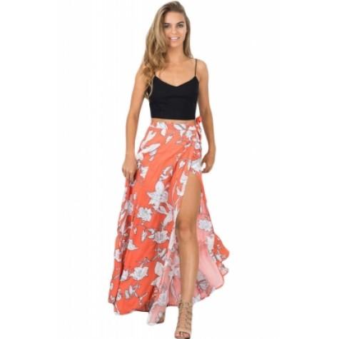 8f7fc3aef Orange White Floral Maxi Skirt with Split (Orange White Floral Maxi ...