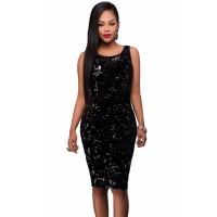 Party Time Sequin Midi Bodycon Dress Black