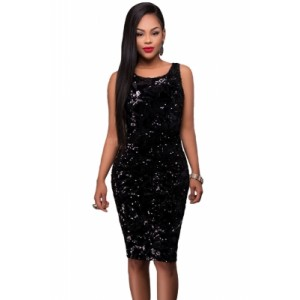 Party Time Sequin Midi Bodycon Dress Black