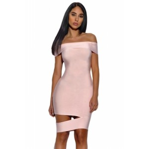 Peach Off The Shoulder Cut Out Bandage Dress Black