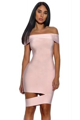 Peach Off The Shoulder Cut Out Bandage Dress Black