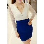 Plunging Neck Long Sleeves Color Block Stylish Dress For Women blue white