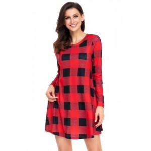 Preppy Plaid Mini Dress Black Red Multicolor