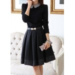 Printed Casual Peter Pan Collar Long Sleeve Dress For Women black
